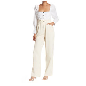 WeWoreWhat Ivory Shirt Jumpsuit